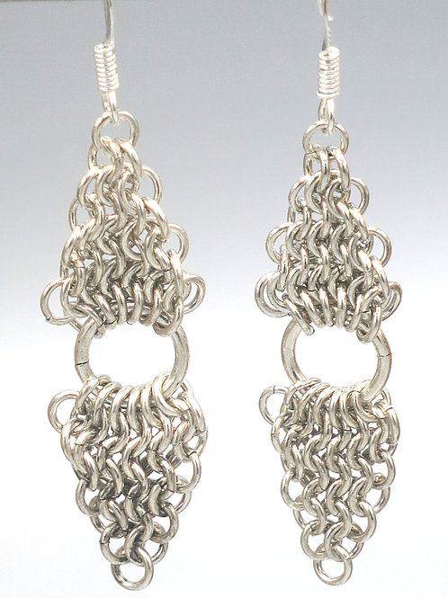 Argentium silver Euro 4-in-1 chainmail earring double triangles w/ring connector