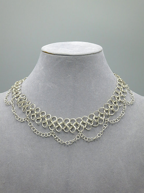 "Argentium silver 14""Euro 4-in-1 choker necklace with chain drapes"