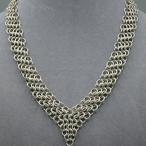 "Argentium silver 17"" Euro 4-in-1 ""V"" shaped necklace"