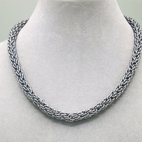 """16.3"""" Gunmetal Candy Cane weave aluminum chainmail necklace"""