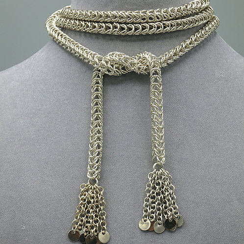 ".925 sterling silver 40"" Box chainmail lariat necklace"