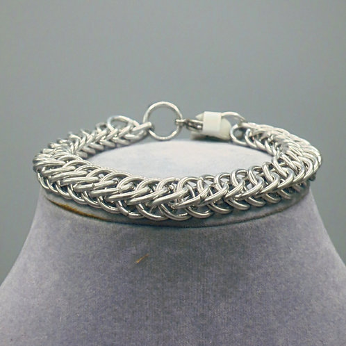 """8.4"""" Brown HP 4-1 weave anodized aluminum chainmail bracelet"""