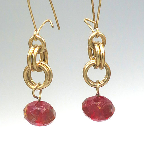 14k gold-filled byzantine chainmail earrings with red Preciosa crystal drops