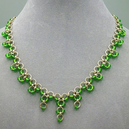 """Argentium silver 17.25"""" Hana Gusari chainmail necklace with green bead accents"""
