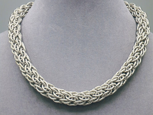 "16.1"" Candy Cane weave aluminum chainmail necklace"