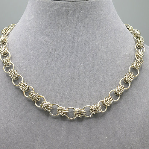 """.925 sterling silver 16.25"""" Scherzo chainmail necklace"""