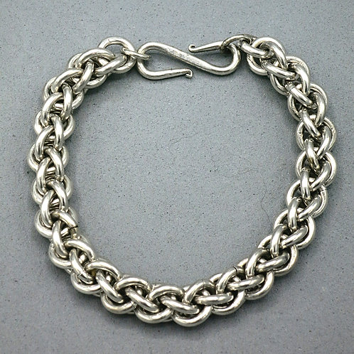"""Argentium silver 8"""" chainmail bracelet in Jens Pind weave"""