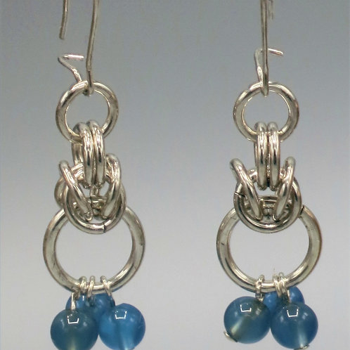 Byzantine chainmail earrings in .925 sterling silver with blueCzech glass