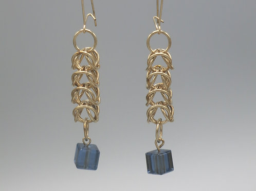 14k gold-filled box chainmail drop earrings with blue glass bead drops