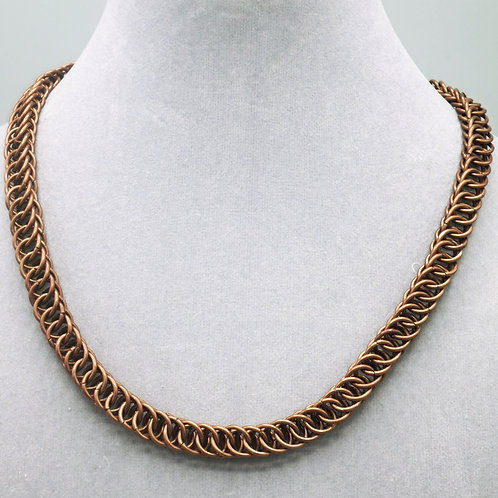 "17.5"" Brown HP 4-1 weave anodized aluminum chainmail necklace"