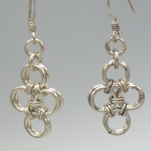 Sterling .925 silver Hana-Gusari chainmail earrings - diamond shaped