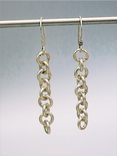 .925 sterling silver 1-in-1 chainmail earrings