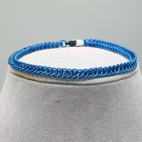 "8"" Blue HP 3-1 weave anodized aluminum chainmail bracelet"