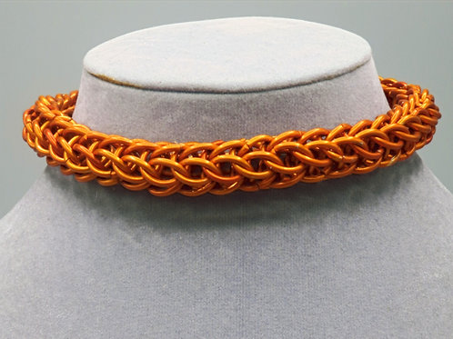 "10.8"" Orange Full Persian weave anodized aluminum chainmail anklet"