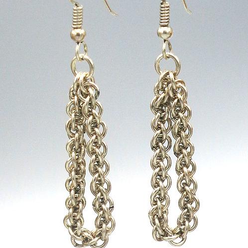 Argentium silver Jens Pind chainmail loop earrings
