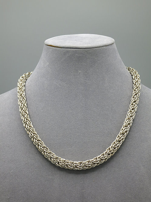 """Argentium silver 20.25"""" Candy Cane chainmail necklace"""