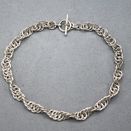 """Argentium silver 8"""" Spiral chainmail weave bracelt"""