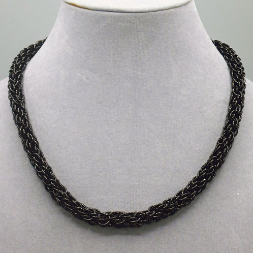 """16.5"""" Black Candy Cane weave anodized aluminum chainmail ne"""