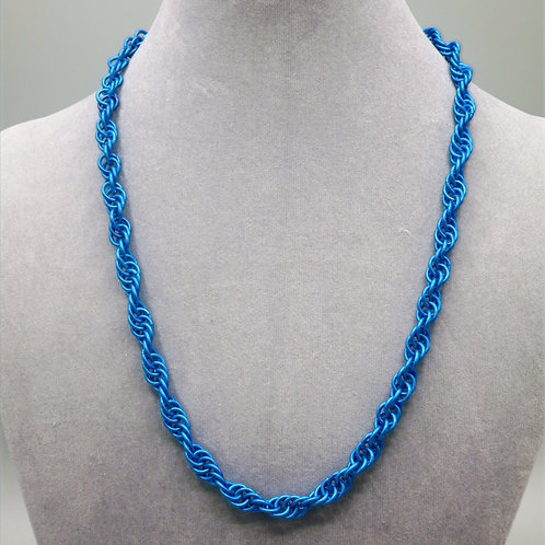 "21.3"" Blue Spiral weave anodized aluminum chainmail necklace"