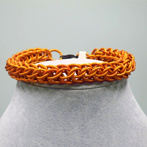 "9.4"" Orange Full Persian weave anodized aluminum chainmail bracelet"