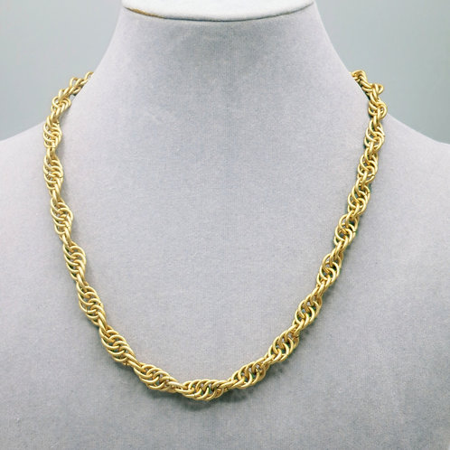 """17.3"""" Pale gold Spiral weave anodized aluminum chainmail necklace"""