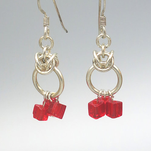 .925 sterling silver Byzantine earrings with red Czech glass cube drops