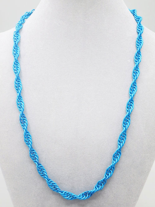"23"" Blue Spiral weave anodized aluminum chainmail necklace"