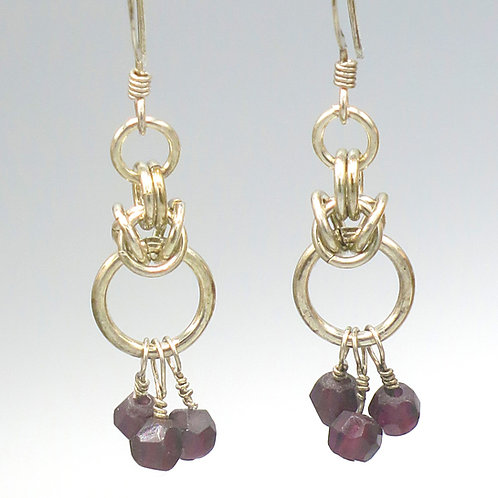 Byzantine chainmail earrings in .925 sterling silver with amethyst drops