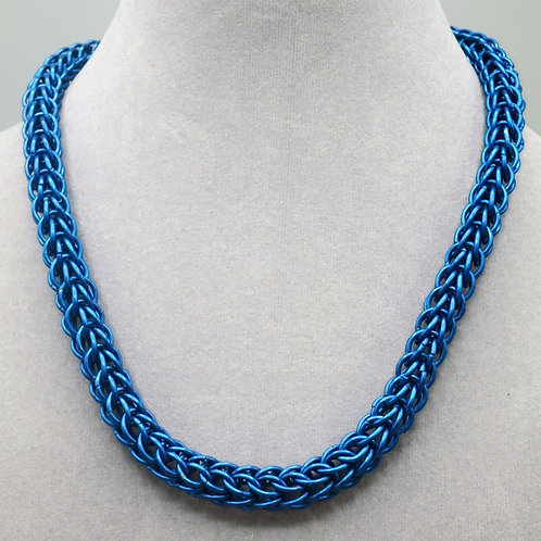 """17.7"""" Blue Full Persian weave anodized aluminum chainmail necklace"""