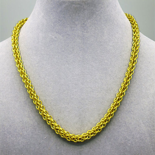 "16.9"" Bright yellow Forars Kaede weave anodized aluminum chainmail ne"