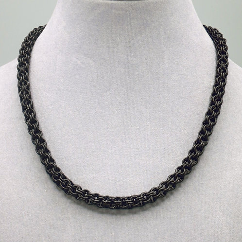 "16.4"" Matte black Inverted Round weave anodized aluminum chainmail ne"