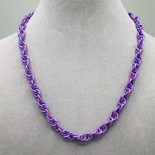 "17.3"" Pink & purple Spiral weave anodized aluminum chainmail ne"