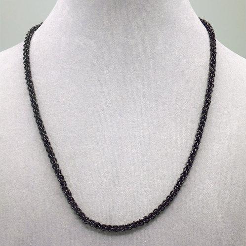 "18.5"" Black JPL weave aluminum chainmail necklace"