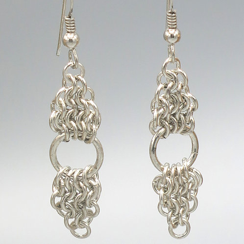 Euro 4-in-1 .925 sterling silver chainmail earrings in double triangles with rin