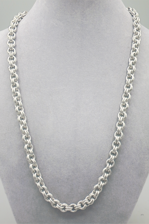 Double link weave aluminum chainmail necklace