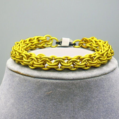 "7.75"" Yellow Inverted Round weave anodized aluminum chainmail bracelet"