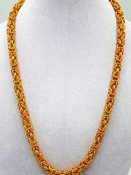 "22.1"" Orange Byzantineweave anodized aluminum chainmail necklace"