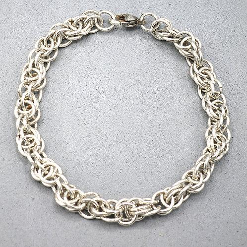 """Argentium silver 7.5"""" Fleur-di-Lis chainmail bracelet"""