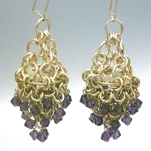 .925 sterling silver earrings in a small Byzantine weave with purple Czech gl