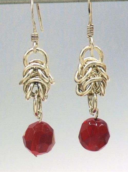 .925 sterling silver Byzantine earrings with Czech glass bead drops