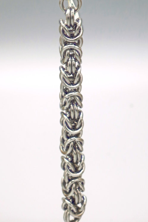 Silver Byzantine weave aluminum chainmail keychain