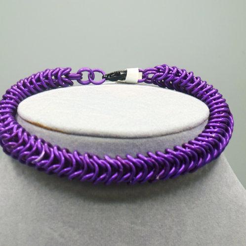 """9.4"""" Purple Box weave anodized aluminum chainmail bracelet"""