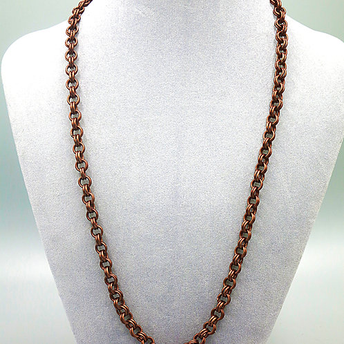 "25"" Brown double link anodized aluminum chainmail necklace"