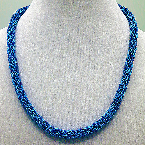 """18.3"""" Blue Candy Cane weave anodized aluminum chainmail ne"""
