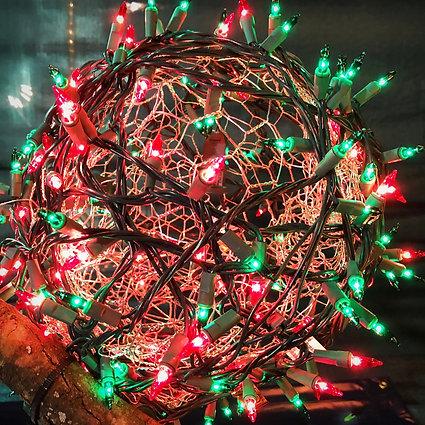 redgreen christmas light ball