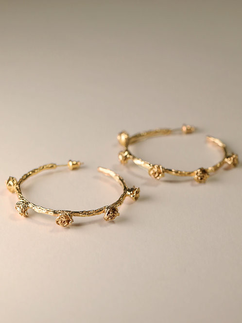 Twig Hoop Earrings with Mini Rose