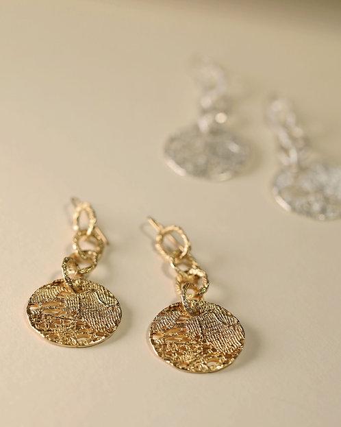 Full Moon Hoop Chain Earrings