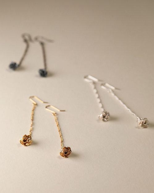Long Chain Earrings with Mini Rose