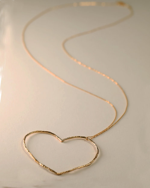 Large Linear Heart Necklace