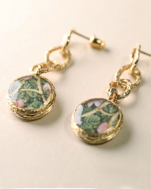 Hoop Chain with Floral Frame Earrings / S (Double)